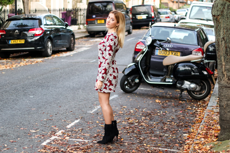 how to wear a floral dress in winter