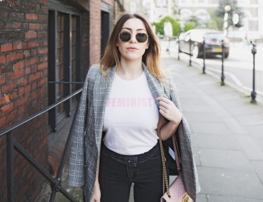 Checked Blazer & Feminist Tee For the Weekend