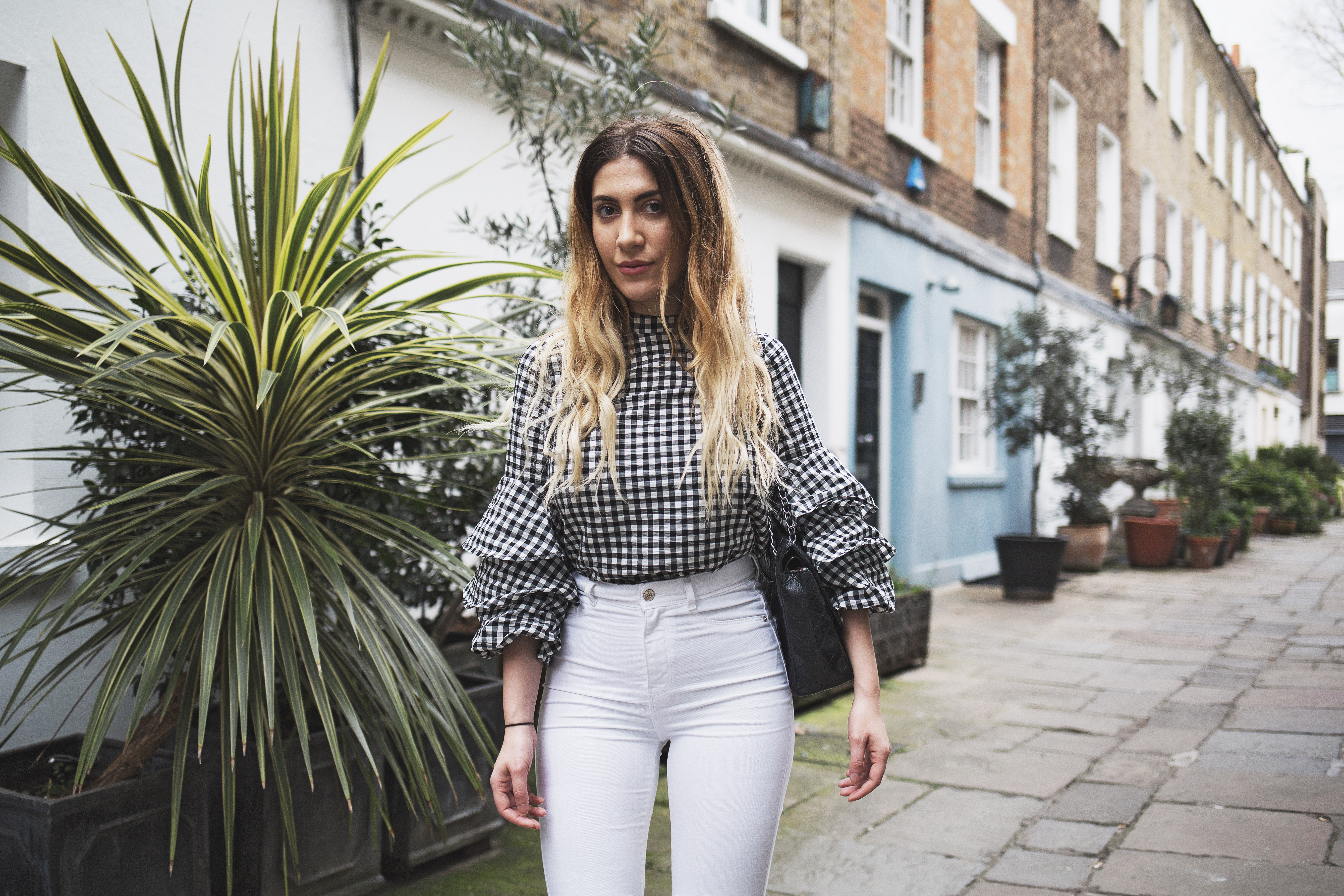 Gingham Top & White Jeans