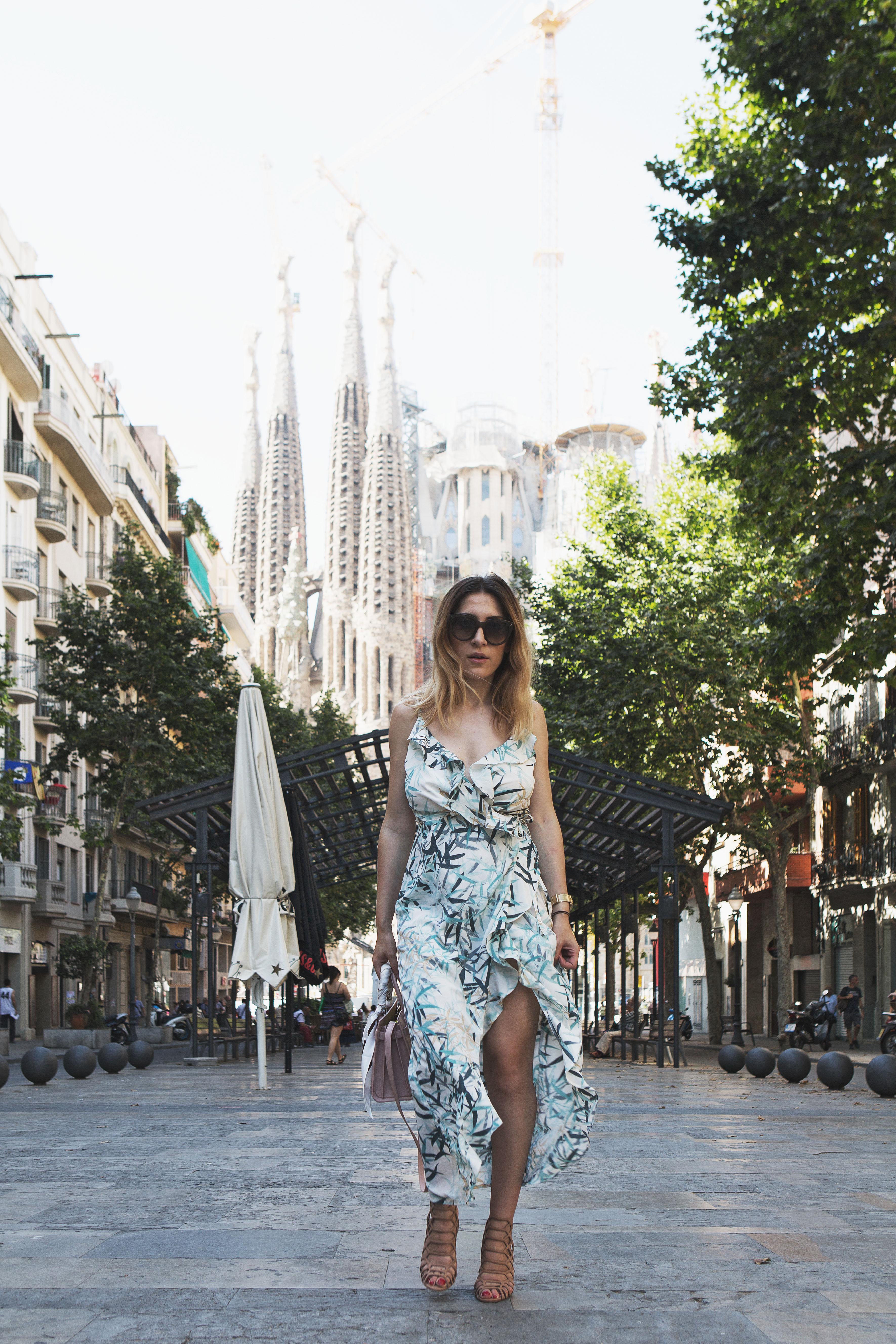Print Ruffle Slip Dress in Barcelona