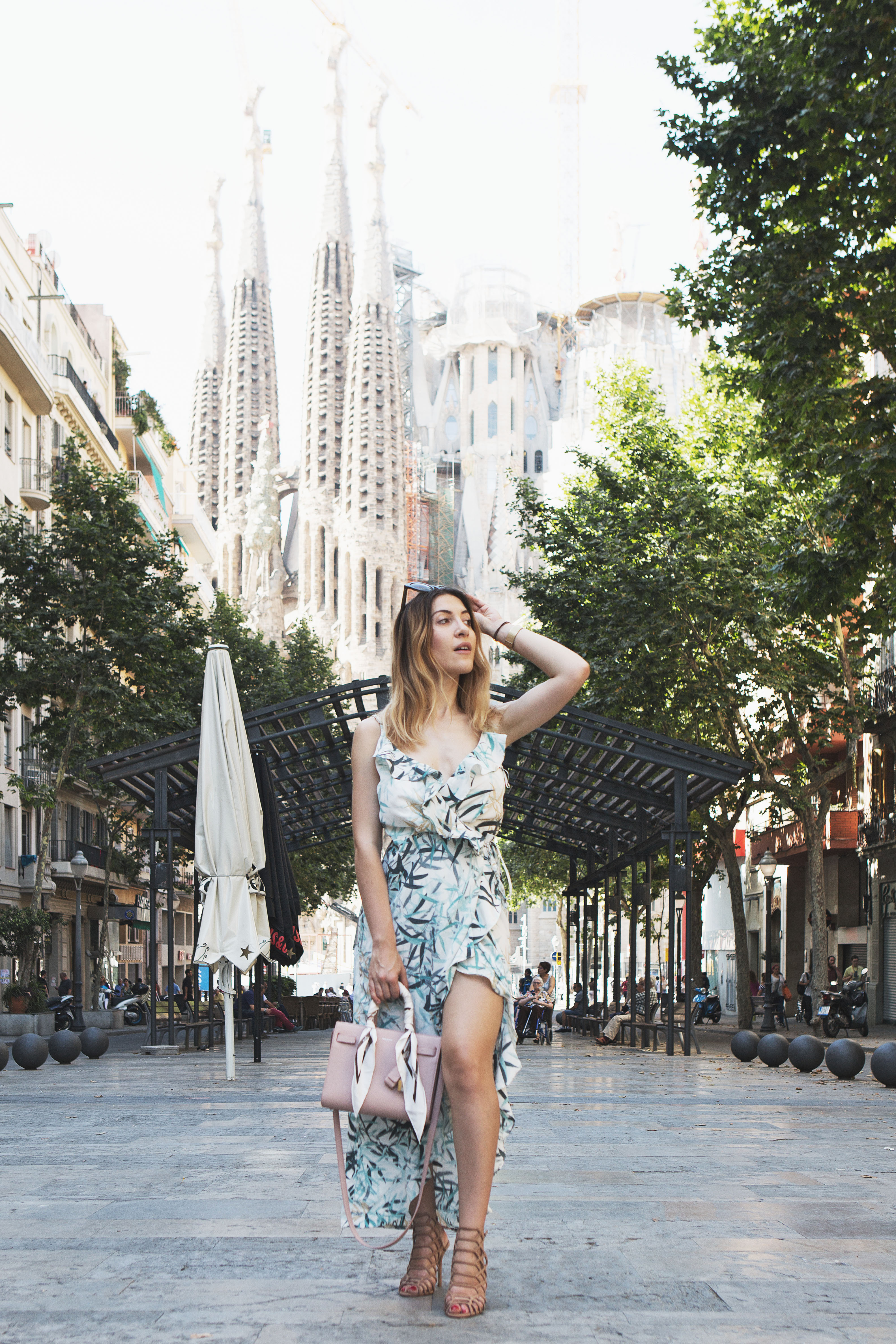Print Ruffle Slip Dress in Barcelona