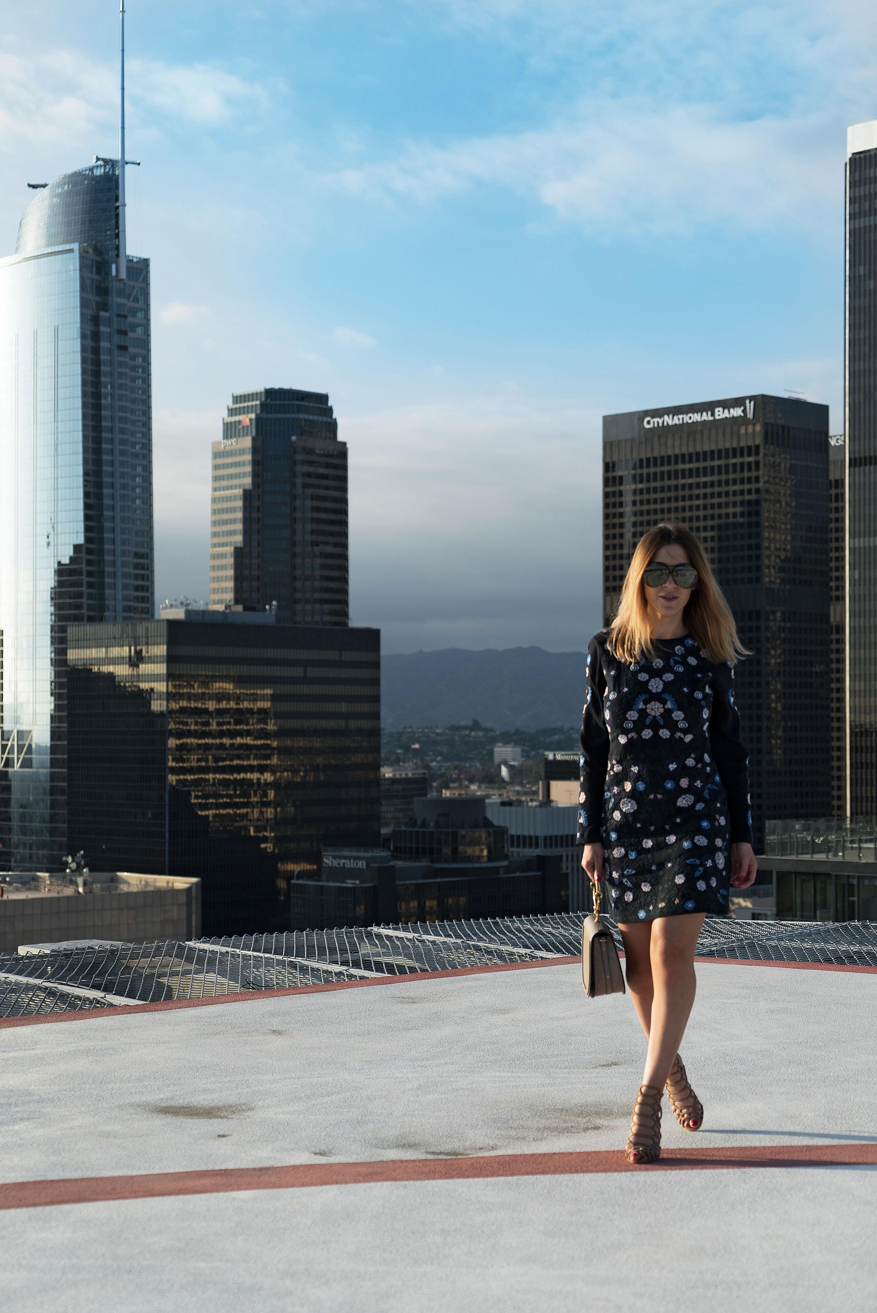 DTLA in Club Monaco Dress & Chloe Bag
