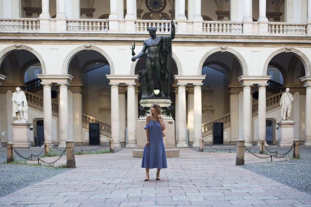 Blue Striped Midi Dress in Milan
