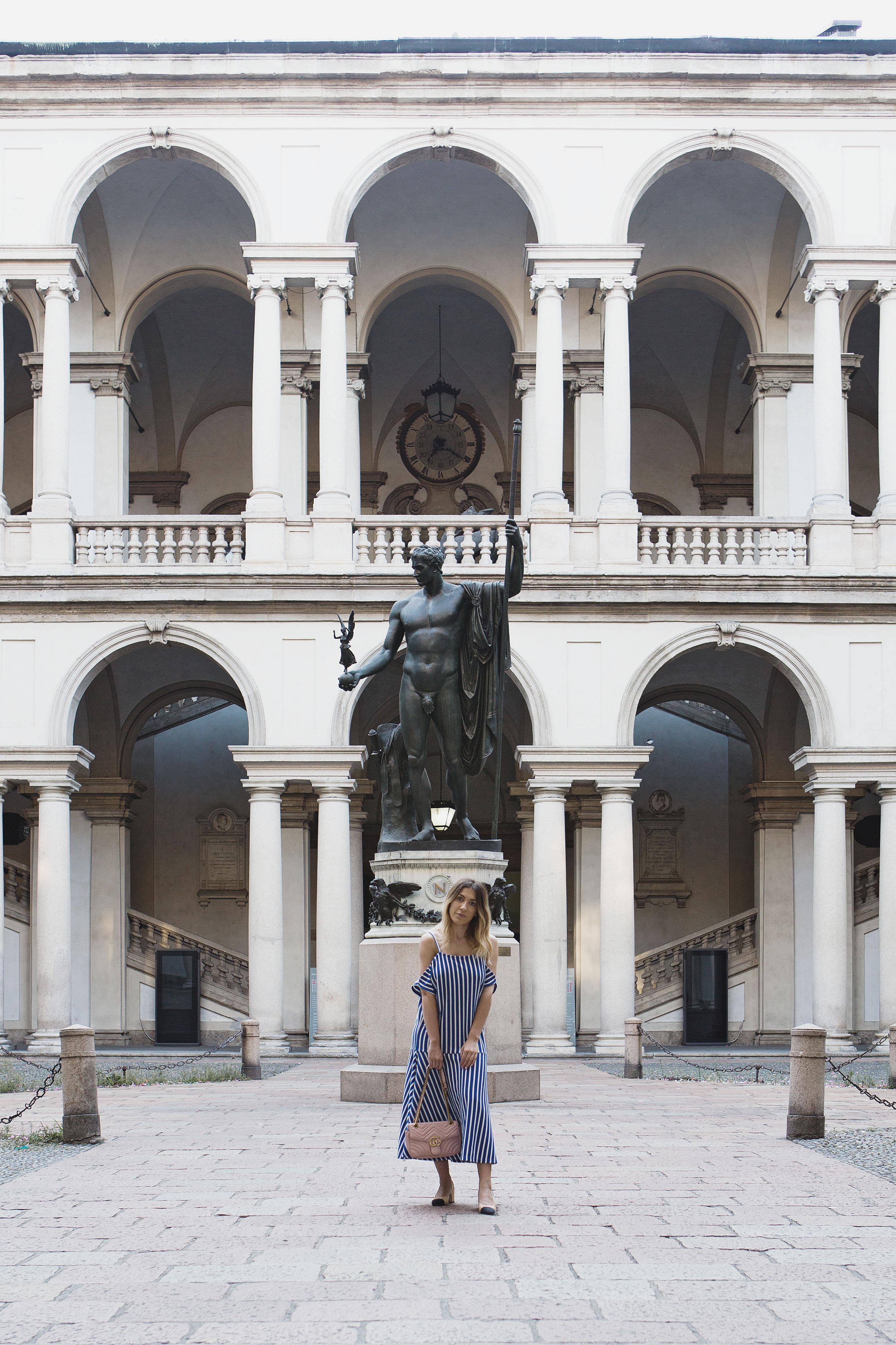 Blue Striped Midi Dress in Milan