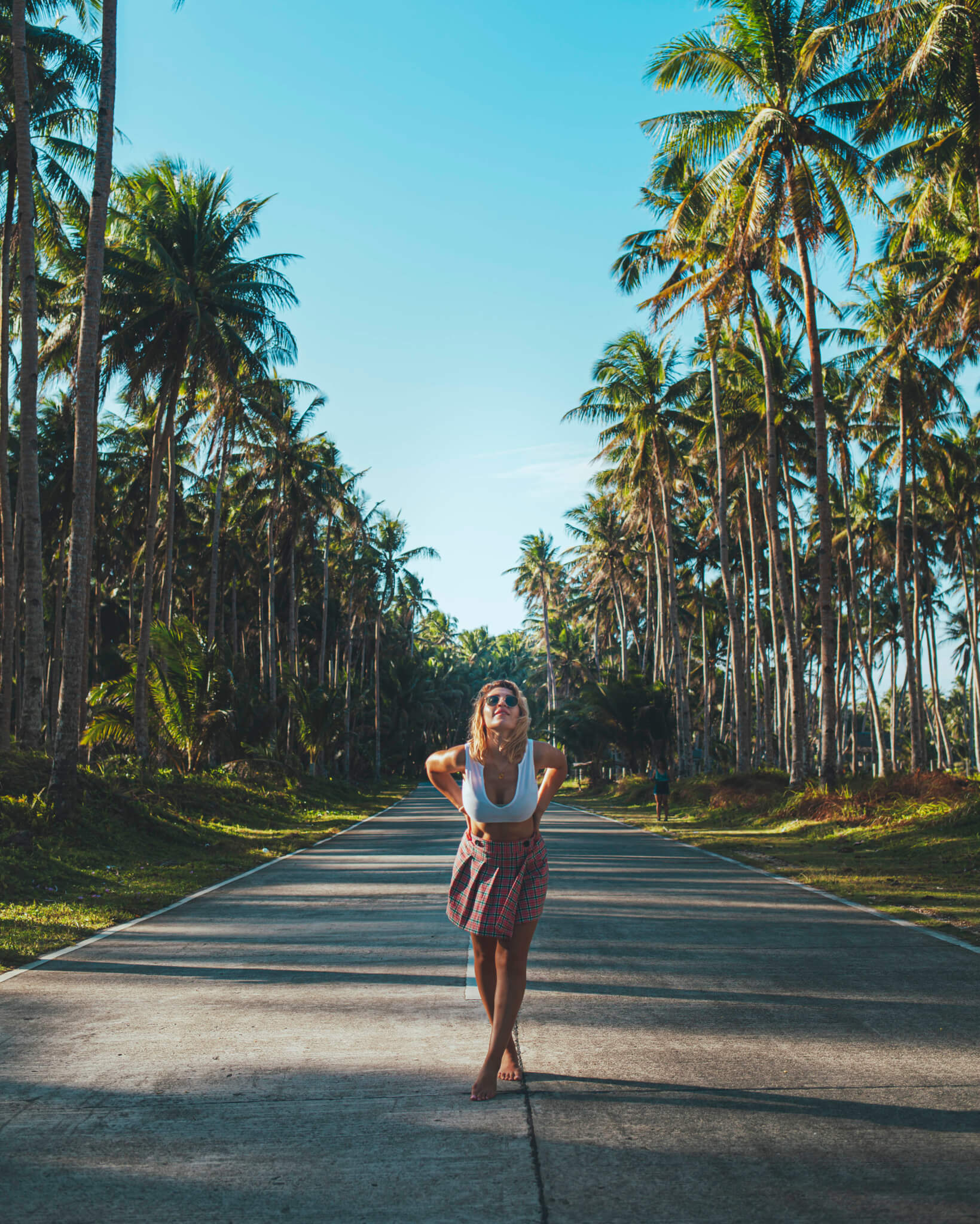 palm lined road Siargao